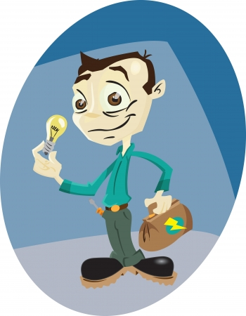 handy man: Un elettricista cartone animato con la borsa degli attrezzi e il globo di luce.