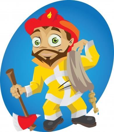 A cartoon fireman in action. Illustration