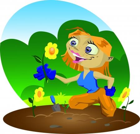 A very happy cartoon gardener inspects her flowers Vector
