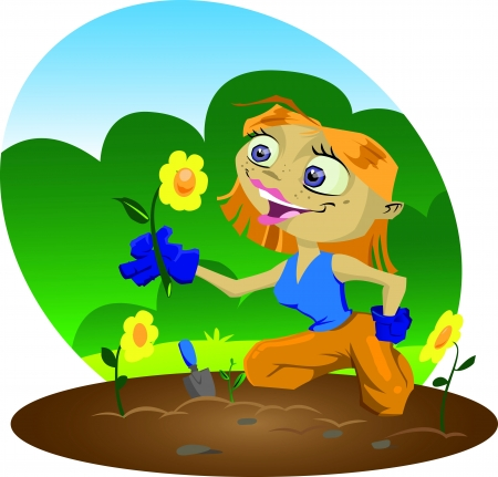 work environment: A very happy cartoon gardener inspects her flowers