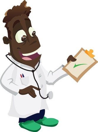 lab coat: A happy cartoon doctor gives the all ok!