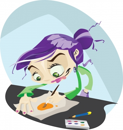 A Funky cartoon illustrator hard at work painting and drawing.