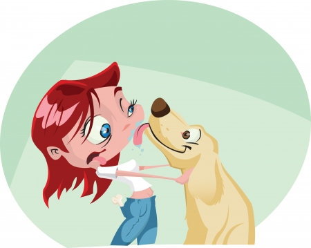 A funky cartoon woman gets a big wet kiss from her dog Illustrator  eps v10 Contains some transparency effects on highlights  Vector