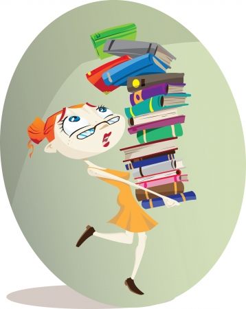 carries: A cartoon librarian carries a huge pile of books Illustrator  eps v10 Contains some transparecy effects  Illustration