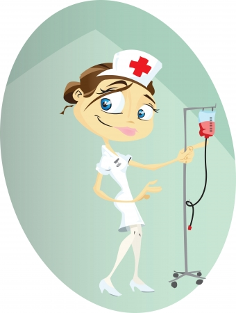 A cartoon nurse busy doing her rounds at the hospital.Illustrator .eps v10.Contains transparency some effects. Vector