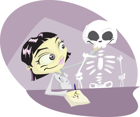 Cartoon medical student studying the human skeleton.Illustrator .eps v10.Contains some transparency effects. Vector