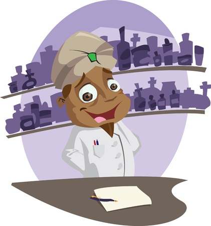 A happy cartoon pharmacist behind his counter.Illustrator .eps v10.Contains some transparency effectson eye highlights. Vector