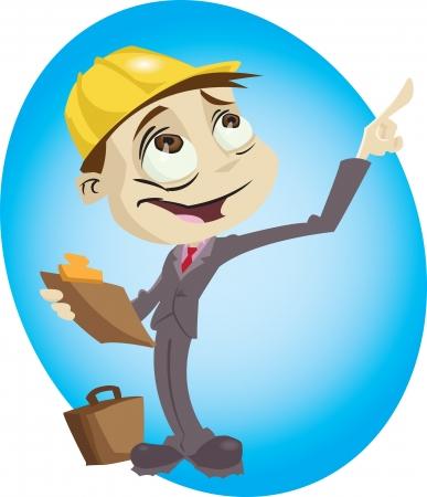 A cartoon engineer surveys his build site.Illustrator .eps v10.Contains some transparency effects. Vektoros illusztráció