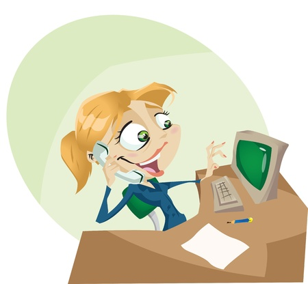 A happy cartoon secretary answers the phone with a smile  Illustrator. Contains transparency ellements on highlights  Vector
