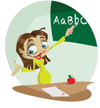 test results: Un insegnante di fumetto allegro utilizza una lavagna per insegnare. Illustrator. Effetti di trasparenza per le luci. Vettoriali