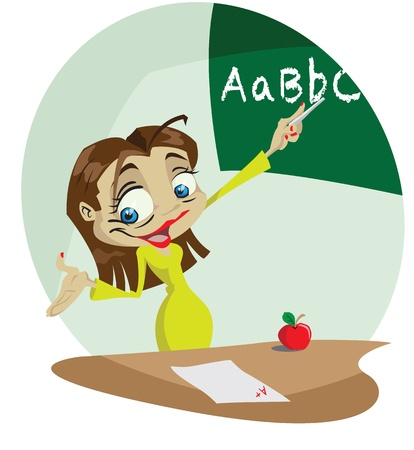 cheerful cartoon: Un profesor de dibujos animados alegre utiliza una pizarra para ense�ar. Illustrator. Efectos de transparencia sobre aspectos m�s destacados. Vectores