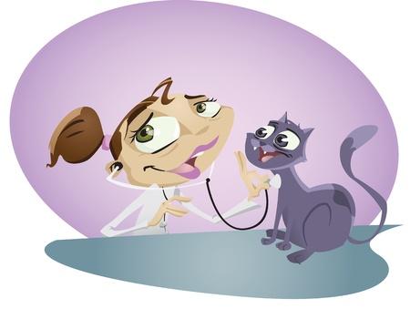 Una enfermera de dibujos animados feliz veterinario se encarga de pequeño y lindo gatito. Illustrator. Contiene algunos efectos de transparencia sobre aspectos más destacados.