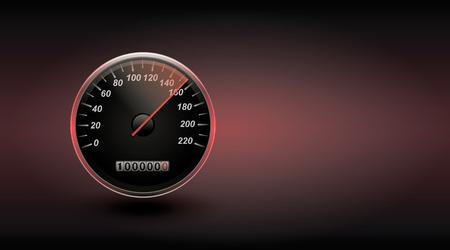 Speedometer in black.