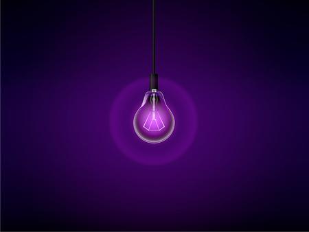 Lightbulb on purple background.