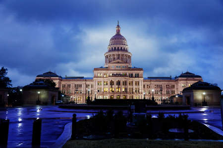 Texas State Capitol building in Austin on a rainy evening photo