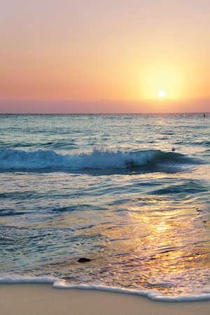 mile: Sun set over Seven Mile Beach, Grand Cayman Stock Photo