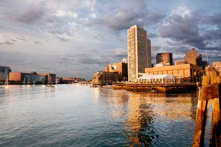 Summer morning light on Boston Harbor and the waterfront photo