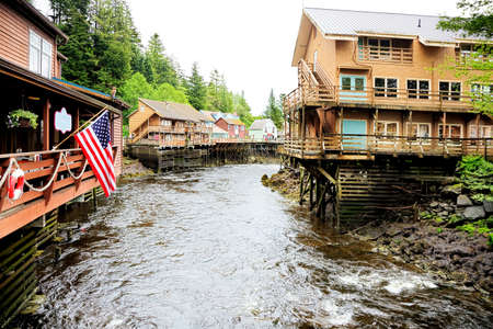 downstream: Creek Street, Ketchikan Alaska, looking downstream Stock Photo