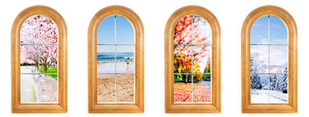 Round top window with views of spring, summer, fall and winter photo