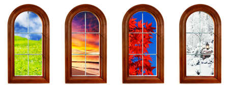 beach window: Round top window with views of spring, summer, fall and winter