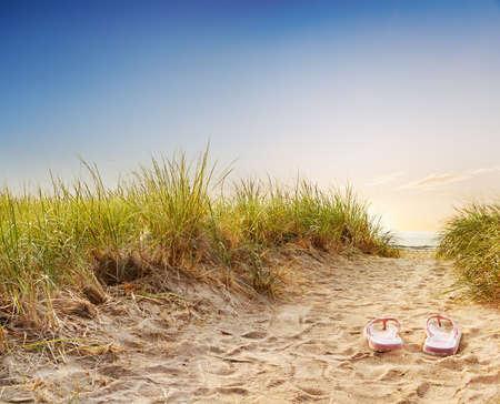 Flip flops on the sandy boardwalk over the dunes