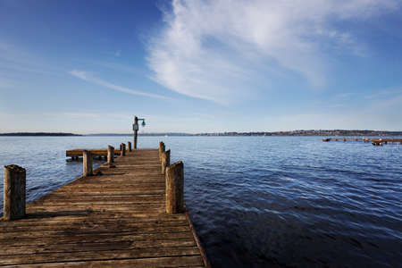pier: Public dock at Marine Point, Kirkland, Lake Washington, on a sunny Spring morning Stock Photo