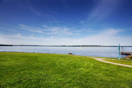 Park on Lake Washington on a sunny Spring morning photo