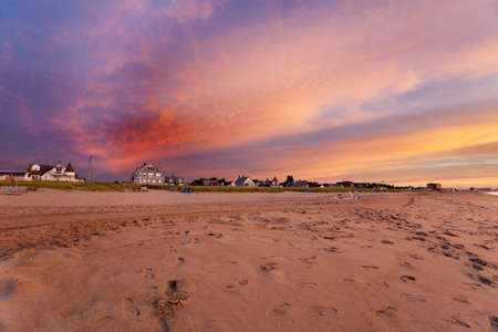 Maine beach houses lit by the pre-dawn vivid light photo