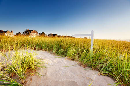 Path through dunes with signpost Stock Photo - 9777011
