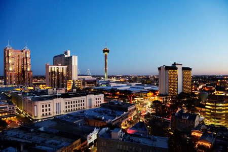 san: San Antonio downtown just after sunset showing skyline around Tower of the Americas & Alamodome Stock Photo