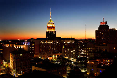 San Antonio downtown just after sunset showing skyline around the Tower Life Building photo