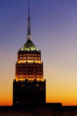 Tower Life Building, San Antonio, at sunset photo