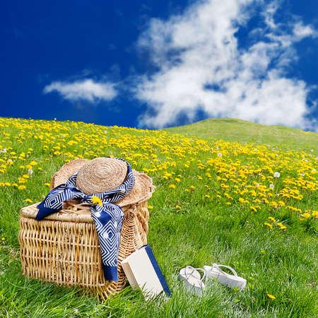 flor silvestre: Sombrero de paja, flops de cesta, libro & flip de picnic, sentado en el c�sped en un rolling, diente de Le�n lleno meadow