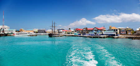 georgetown: Georgetown waterfront, Cayman Islands, from the water on a sunny afternoon