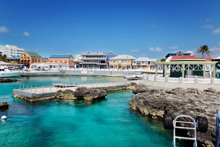 Waterfront shopping area in Georgetown, Grand Cayman Stock Photo