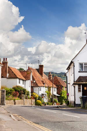 english village: Pretty village of Hollingbourne, Kent on a sunny late summer day Stock Photo