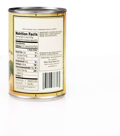 no label: Nutritional label on a can of beans - fiber, protein and virtually no fat. Invalid bar code