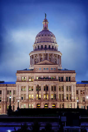 austin: Texas State Capitol building in Austin on a rainy evening Stock Photo