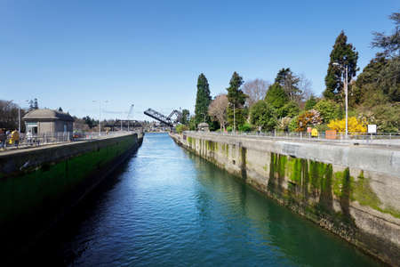 upstream: Ballard Locks, looking upstream with bridge open, Seattle Stock Photo
