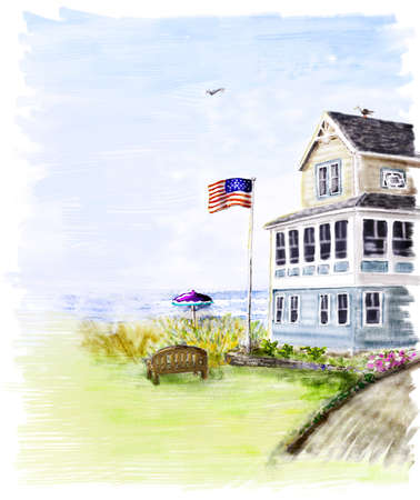 Beach house overlooking the ocean photo