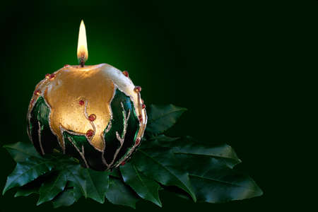 Decorated Christmas candles gentle flame photo