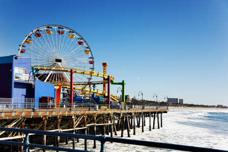 sea dock: Ferris wheel on Santa Monica Pier, Los Angeles Stock Photo