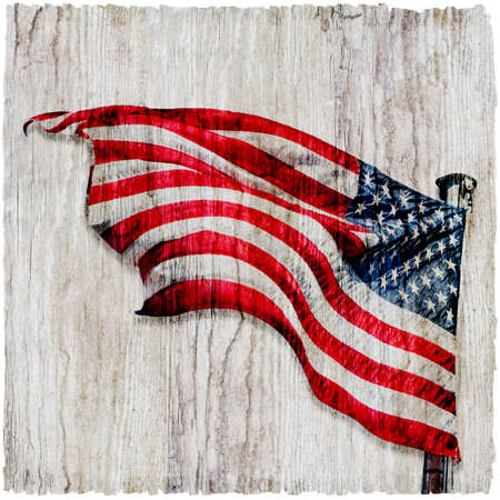 Grungy US flag on rough driftwood background