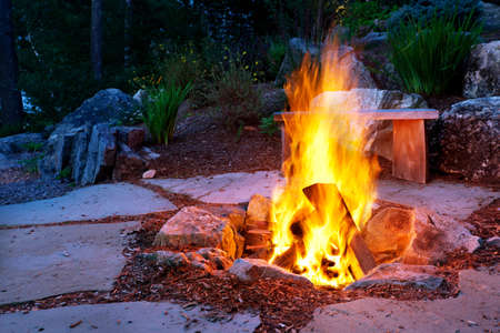 log fire: Summer outdoor fire