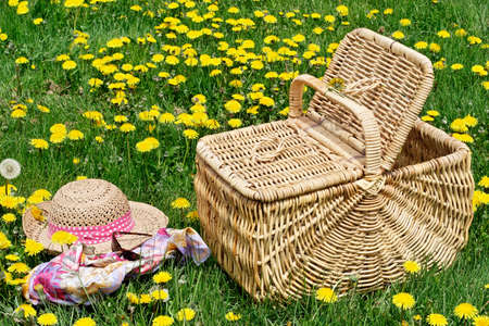 basket: Hat, picnic basket, glasses & scarf in a meadow Stock Photo
