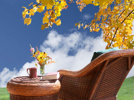 take a breather: Relax and enjoy the view of  fall sunshine Stock Photo