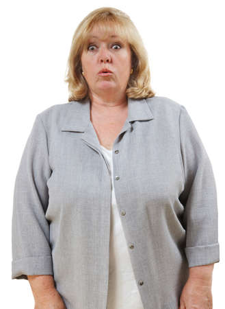 disbelief: Mature womans eyes get big with surprise and disbelief Stock Photo