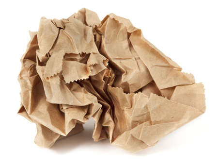 brown paper bags: Crumpled paper lunch bag - trash