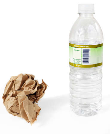 Paper lunch bag & plastic water bottle - disposable, not reusable Stock Photo - 9821276