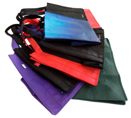 reusable: Pile of reusable shopping bags, isolated